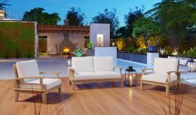 Marina 3 Piece Outdoor Patio Teak Set in Natural White