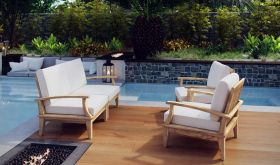 Marina 4 Piece Outdoor Patio Teak Set in Natural White