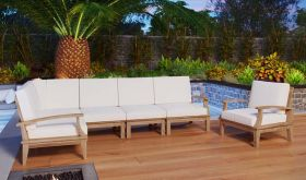 Marina 6 Piece Outdoor Patio Teak Set in Natural White
