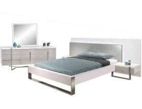 Laie Modern Bedroom Set in White & Gray Lacquer