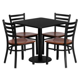 30'' Square Black Laminate Table Set with 4 Ladder Back Metal Chairs - Cherry Wood Seat [MD-0003-GG]