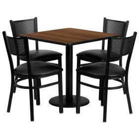30'' Square Walnut Laminate Table Set with 4 Grid Back Metal Chairs - Black Vinyl Seat [MD-0005-GG]