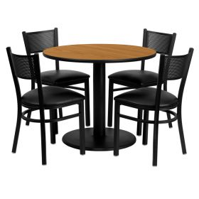 36'' Round Natural Laminate Table Set with 4 Grid Back Metal Chairs - Black Vinyl Seat [MD-0006-GG]