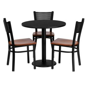 30'' Round Black Laminate Table Set with 3 Grid Back Metal Chairs - Cherry Wood Seat [MD-0007-GG]