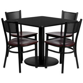 36'' Square Black Laminate Table Set with 4 Grid Back Metal Chairs - Mahogany Wood Seat [MD-0008-GG]