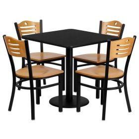 30'' Square Black Laminate Table Set with 4 Wood Slat Back Metal Chairs - Natural Wood Seat [MD-0010-GG]