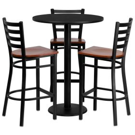30'' Round Black Laminate Table Set with 3 Ladder Back Metal Bar Stools - Cherry Wood Seat [MD-0013-GG]
