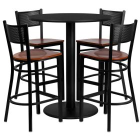 36'' Round Black Laminate Table Set with 4 Grid Back Metal Bar Stools - Cherry Wood Seat [MD-0018-GG]