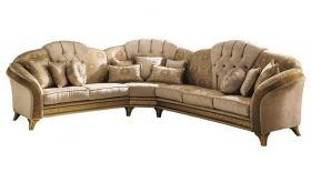Melodia Contemporary Corner Sofa in Gold & Beige