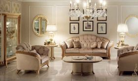 Melodia Contemporary Living Room Set in Gold & Light Brown