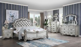 Melrose Contemporary Bedroom Set in White Gray