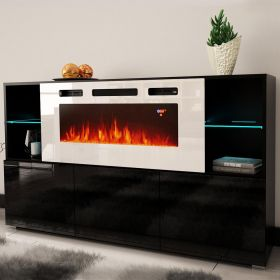 "Memphis Electric Fireplace Modern 63"" Sideboard"