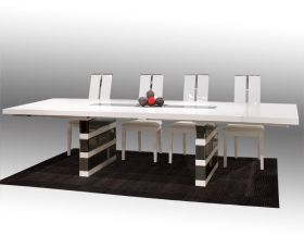 Hanalei Modern Dining Room Set in White Lacquer & Gray Mirror