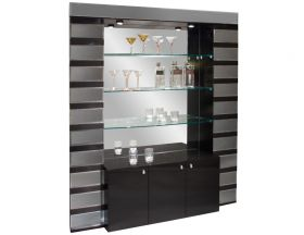 Palatine Modern Bar Corner in Black Lacquer & Mirror