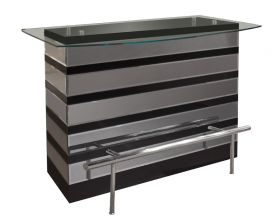 Palatine Modern Bar Counter in Black Lacquer & Mirror