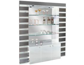 Palatine Modern Bar Corner in White Lacquer & Mirror