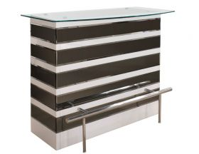 Palatine Modern Bar Counter in White Lacquer & Mirror