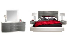Waimea Modern Bedroom Set in White Lacquer & Grey