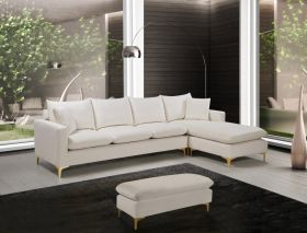 Unalaska Velvet Reversible Sectional Sofa in Cream