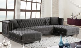 Meridian 631 Moda Velvet 3 Piece Sectional Sofa in Grey