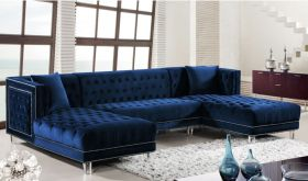 Meridian 631 Moda Velvet 3 Piece Sectional Sofa in Navy