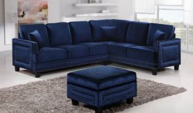 Meridian 655 Ferrara Sectional Sofa in Navy Velvet