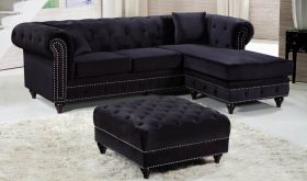 Meridian 667 Sabrina Velvet Reversible 2 Piece Sectional Sofa in Black