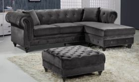 Meridian 667 Sabrina Velvet Reversible 2 Piece Sectional Sofa in Grey