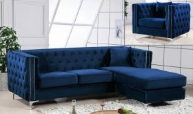 Meridian 668 Jesse Velvet 2 Piece Reversible Sectional Sofa in Navy