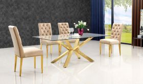 Meridian 716 Capri Dining Room Set in Rich Gold & Beige
