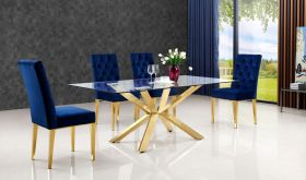Meridian 716 Capri Dining Room Set in Rich Gold & Navy