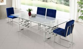 Meridian 731 Alexis Dining Room Set in Rich Chrome & Navy