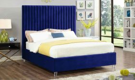 Meridian Candace Velvet Bed in Navy
