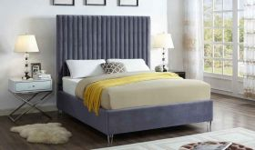 Meridian Candace Velvet Bed in Grey
