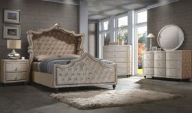 Meridian Diamond Canopy Bedroom Set in Golden Beige