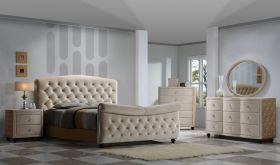 Meridian Diamond Sleigh Bedroom Set in Golden Beige