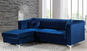 Meridian 660 Eliana Velvet Reversible Sectional Sofa in Navy