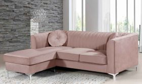 Meridian 660 Eliana Velvet Reversible Sectional Sofa in Pink
