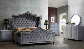 Meridian Hudson Canopy Bedroom Set in Grey Velvet