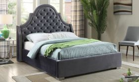 Meridian Madison Upholstered Platform Bed in Grey