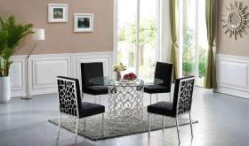 Meridian Opal Dining Room Set in Chrome & Black
