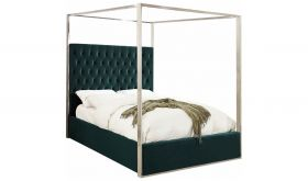 Meridian Porter Canopy Bed in Green Velvet