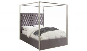 Meridian Porter Canopy Bed in Grey Velvet