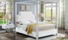 Meridian Rowan Velvet Bed in White