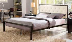 Mia Modern Fabric Bed in Brown Beige