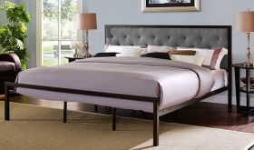 Mia Modern Fabric Bed in Brown Gray