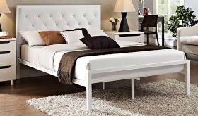 Mia Modern Vinyl Bed in White