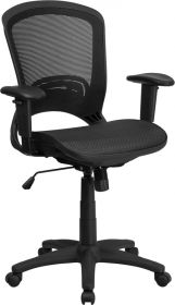 Mid-Back Black Mesh Executive Swivel Office Chair with Mesh Seat and Back and Height Adjustable Arms [HL-0007T-GG]