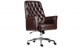 Mid-Back Traditional Tufted Leather Executive Swivel Chair with Arms in Brown