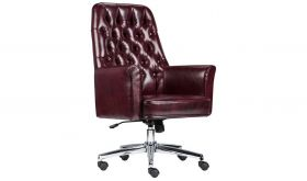 Mid-Back Traditional Tufted Leather Executive Swivel Chair with Arms in Burgundy
